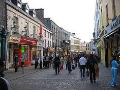 Street of shops Galway, Ireland.