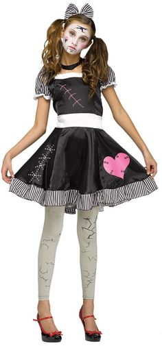 A Broken Doll Can Be Eerily Sad And Creepy, A Perfect Scary Costume For Your Next Halloween Party! Black Dress With Striped Trim And Printed Stitching With A Pink Heart Comes With A Black Choker, Striped Hair Bow, And Printed Footless Tights. Dress P Broken Doll Costume, Creepy Doll Costume, Eve Costume, Creepy Halloween Costumes, Halloween Party, Halloween Desserts, Halloween Makeup, Halloween Crafts, Costume Ideas