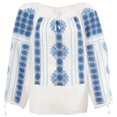 A hand made traditional blouse, exclusively tailored out of natural materials, such as white cotton and blue silk embroidery. Cross Stitch Embroidery, Hand Embroidery, Embroidery Fashion, American Quilt, Folk Fashion, Folk Costume, Elsa, Blue And White, Tunic Tops
