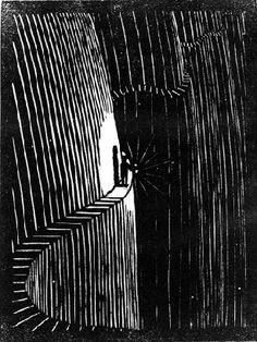 M.C.  Escher   Flor de Pascua  # 81,   Never Think Before You Act, 1921  Woodcut