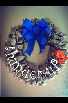 Wreath. Burlap. OKC. (I love this wreath. I have an OU one.. Thinking I need to invest into an OKC Thunder one as well)