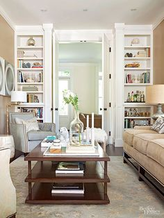 Space-Saver: Keeping your color palette simple will make the room look larger. Sticking with a simple palette of one or two colors can deliver a look that's both streamlined and well-coordinated.The creamy beige walls and sofa and white built-ins are subtle, but dollops of blue and a touch of wood tones anchor the scheme and keep it interesting./