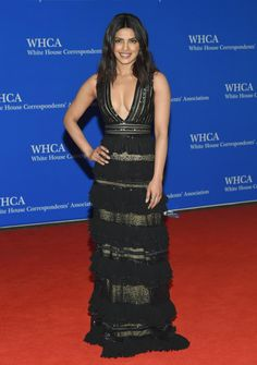 Priyanka Chopra went for the plunge in a sheer black Zuhair Murad gown as she arrived at the White House Correspondents' Association Dinner at the Washington Hilton Hotel.
