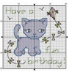 Cat Cross Stitches, Cross Stitch Embroidery, Cross Stitch Patterns, Cat Birthday, Birthday Cards, Blue And White, Kids Rugs, Sewing, Cat Stuff