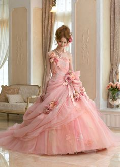 I'm a *little* bit obsessed with pink wedding gowns! Beautiful Gowns, Beautiful Outfits, Gorgeous Dress, Simply Beautiful, The Dress, Pink Dress, Pink Tulle, Bridal Gowns, Wedding Gowns