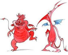 """Concept art of Hades' peevish and professional lickspittles Pain and Panic from Disney's """"Hercules"""" (1997)."""