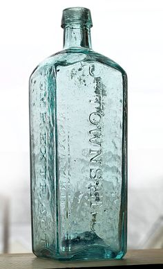 """DR. TOWNSEND'S - COMP. EXTRACT - SARSAPARILLA, (unlisted), New York, ca. 1840 - 1860, bluish aqua, 9 5/8""""h, iron pontil, applied tapered collar mouth."""