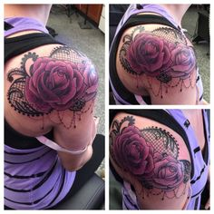 Rose cover-up with lace #lace #beads #coverup #color #purple  #custom #crystalmartinez #guerramarz #chicago #chicagotattooartist #customartist #tattoo #tattoos #tattoofactory #ladytattooer