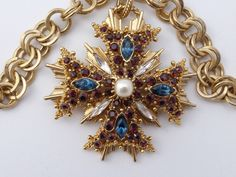 Graziano Maltese Cross pendant necklace layered gold tone rhinestones Z10 #Graziano