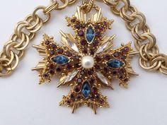 Graziano Maltese Cross pendant necklace layered gold tone rhinestones Z10 #Graziano
