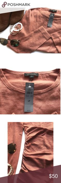 Ann Taylor • 100% Merino Wool Sweater NWT, Large Petite (LP). Muted Salmon Orange. Cinching on sides on the bottom 1/3rd of the pullover w/ layering detailing! Comment below if you have any questions!  Style this with Chelsea boots & jewelry!   Thanks for shopping my closet. Ann Taylor Sweaters