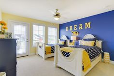 Navy blue and yellow bedroom ideas yellow and blue bedroom ideas yellow and navy blue bedroom . navy blue and yellow bedroom Light Yellow Bedrooms, Yellow Kids Rooms, Blue Rooms, Blue Walls, Yellow Bedroom Furniture, Blue Bedroom, Bedroom Decor, Bedroom Ideas, Bedroom Girls