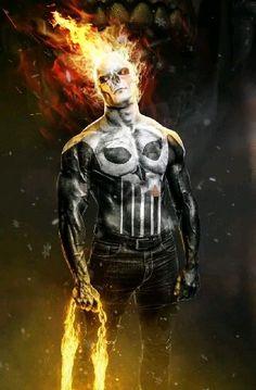 Ghost Rider/ Punisher - Kode-LGX-Punisher-Marvel Punishment - punisher x ghost rider concept . Punisher Marvel, Daredevil, Deadpool Wallpaper, Avengers Wallpaper, Marvel Comics Art, Marvel Heroes, Marvel Avengers, Rauch Tapete, Ghost Rider Wallpaper