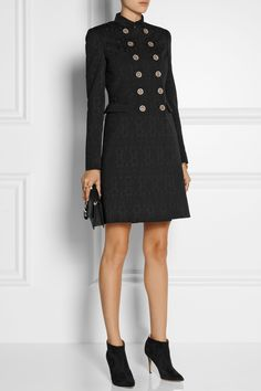 Versace|Double-breasted stretch wool-blend brocade coat