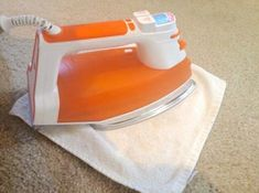 How to Clean Stubborn Carpet Stains with an Iron and Vinegar/Water Solution: Spray carpet with solution. Lay damp cloth over spot. Iron over it with steam iron. Works best with protein or oil based stains. Not as well with food or red dye based stains. Household Cleaning Tips, Deep Cleaning Tips, Natural Cleaning Products, Cleaning Solutions, Cleaning Hacks, Cleaning Supplies, Steam Cleaning, Household Cleaners, Iron Cleaning