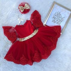 This is a handmade red with gold sequins big bow dress perfect for any occasion! Can customize colors to your liking if you have any questions feel free to contact me thank you Baby Girl Frocks, Frocks For Girls, Little Girl Dresses, Girls Dresses, Flower Girl Dresses, Red Dresses For Kids, Dresses Dresses, Flower Girls, Party Dresses