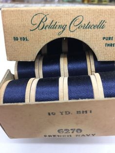 Silk Thread 12 Spools French NAVY Belding Corticelli Butonhole Twist new Silk Thread, Wine Rack, French, Pure Products, Navy, Vintage, Hale Navy, French People, French Language