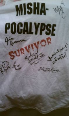 My Mishapocalypse shirt, autographed by lots of people that aren't Misha! (Matt Cohen, Jim Beaver, Kim Rhodes, Osric Chau, Richard Speight Jr., Julian Richings, and Gil McKinney) ||| Supernatural Dallas Con 2014 [My pic/shirt~]