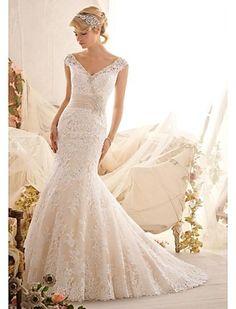 Vestido de Noiva Sereia Em V Cauda Escova/Comprido ( Renda ) - BRL R$ 1.025,97
