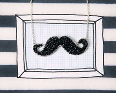 Tashtastic Beaded Moustache Necklace by LucyJewellery on Etsy, £20.00