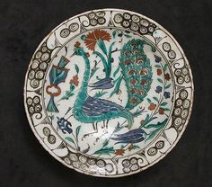 Iznik Dish with Peacock Design | The Met early 17th century  accessed 2/26/2017