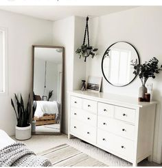 Minimalist bedroom with cheap furniture . Minimalist bedroom with cheap furniture – great bedroom furniture ideas for … Simple Bedroom Decor, Room Ideas Bedroom, Modern Bedroom Design, Home Decor Bedroom, Trendy Bedroom, Simple Bedrooms, Bedroom Inspo, Mirror Bedroom, Dresser Mirror