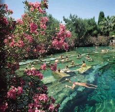 Pin It    Swim in an ancient pool at the Hierapolis hot springs in Pamukkale, Turkey, dotted with Roman ruins that are believed to have fallen from the nearby Temple of Apollo during an earthquake. The mineral-rich fresh water is constantly replenished in the pools Cleopatra herself is said to have swum in.