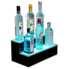"Amazon.com: 2' LED Liquor Bottle Shelf (24"" W x 4.5"" Deep x .75"" Thick), Made in the USA, LED Illuminated Bottle Shelf Display- Includes Wireless Remote Control and UL Listed Power Supply: Kitchen & Dining"