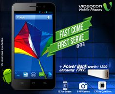 Grab the irresistible #Videocon A55qHD that has qHD Capacitive Touch Screen & get a power bank absolutely free in our #FastComeFirstServe offer. Know more - http://www.videoconmobiles.com/FastComeFirstServe