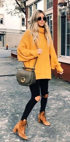 #winter #outfits yellow knitted turtle neck swearter