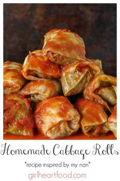 These easy old- fashioned cabbage rolls are so tasty and ultra comforting! Cabbage leaves are stuffed with a seasoned ground beef mixture, topped with tomato sauce and baked. So hearty and delicious! Easy Cabbage Rolls, Cabbage Rolls Recipe, Ukrainian Cabbage Rolls, Ukrainian Food, Ukrainian Recipes, Croatian Recipes, Hungarian Recipes, Easy Stuffed Cabbage, Baked Cabbage