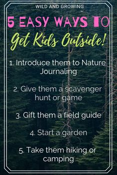 5 Cheap and Easy Ways To Get Kids Outside Nature Activities, Activities For Kids, Starting A Garden, Nature Journal, Kids Learning, Montessori, Exploring, The Outsiders, Relax