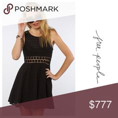 Free People Dress Details to come  free People black dress with Crochet Cutout waist in a pretty daisy pattern Free People Dresses
