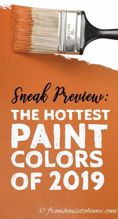 I love these 2019 paint color trends! It has the color of the year for all of the major paint companies like Benjamin Moore Sherwin Williams Behr PPG and Valspar I love these 2019 pa Farmhouse Paint Colors, Kitchen Paint Colors, Bedroom Paint Colors, Interior Paint Colors, Paint Colors For Living Room, Paint Colors For Home, Wall Colors, Interior Painting, Orange Paint Colors