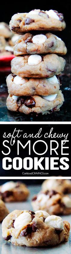 Soft and Chewy S'more Cookies - chewy, graham cracker cookies nestled with gooey chocolate and slightly toasted marshmallows. My husbands FAVORITE COOKIE! via @carlsbadcraving Mini Desserts, Cookie Desserts, Cookie Recipes, Delicious Desserts, Dessert Recipes, Yummy Food, Smores Cookies, Yummy Cookies, Oreo Dessert