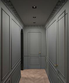 "Apartment Visualization for ""Atelier Interior"" atelierinterior. Apartment 9, Apartment Interior, Luxury Interior, Modern Interior Design, Modern Classic Interior, Wall Panel Design, Hallway Designs, Lobby Design, Wainscoting"