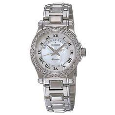 Seiko Women's Quartz Mother of Pearl Dial Stainless Steel Watch Silver 21st Gifts, Seiko, Quartz Watch, Michael Kors Watch, Jewelry Stores, Bracelet Watch, Watches, Diamond, Lady