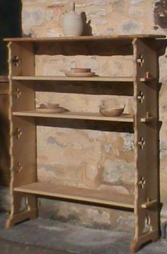 Gothic style knock-down shelves.