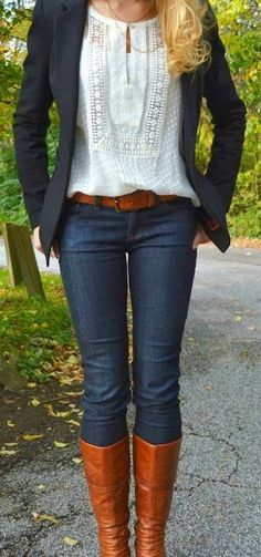 Stylish Ashley: Black Jacket and Jeans, Blouse and Long Boots with...