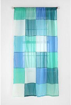 Colorblock Patchwork Curtain
