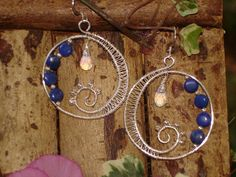 Spiral Earrings of Lapis, Sterling Silver and Opalite. Made me think of the moon and stars...