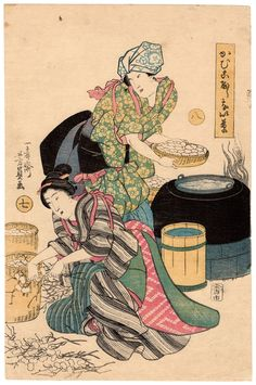 Silk productie Utagawa Yoshikazu ukiyo-e woodblock print Chinese Prints, Japanese Art Prints, Japanese Painting, Chinese Art, Chinese Painting, Day In Japanese, Ancient Japanese Art, Geisha, Work In Japan