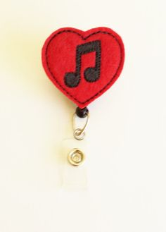 Red & Black Music Heart Felt Badge Reel  by SimplyReelDesigns