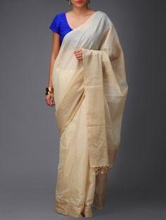Beige-Golden Banarasi Tusser-Silk Saree by Ekaya