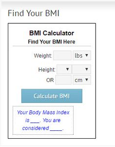 Head to our website if you want to find out your BMI.