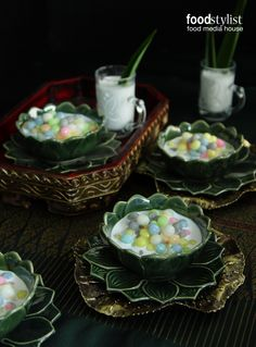 Rice dumpling in coconut milk (Thai Dessert in Thai Styling)