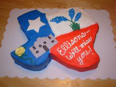 Going Away Texas Cake This was for a going away party for a family from Texas moving to another state. It includes bluebonnets ( the state...