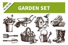 Garden Hand Drawn Vector Set By Elena Pimonova