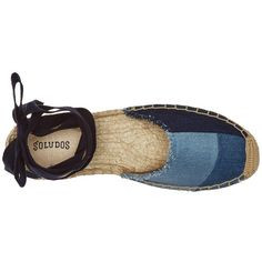 Soludos Patchwork Classic Sandal (Denim) Women's Flat Shoes ($60) ❤ liked on Polyvore featuring shoes, sandals, flat shoes, flats sandals, lace up flat shoes, denim flats and wrap shoes