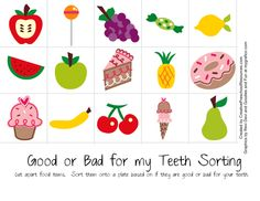 Good or Bad for My Teeth - Printable